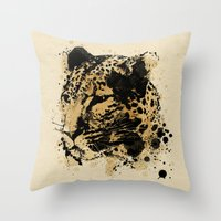 leopard Throw Pillows featuring Leopard by DIVIDUS