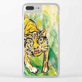 Tiger in th jungle Clear iPhone Case