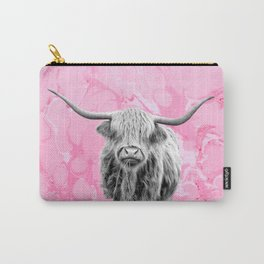 Highland Cow Bland and White on Pink Marble Carry-All Pouch