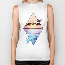 Sunset on the beach Biker Tank