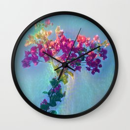 Red flower on blue sky Wall Clock