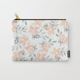 Peach Watercolor Flowers Carry-All Pouch