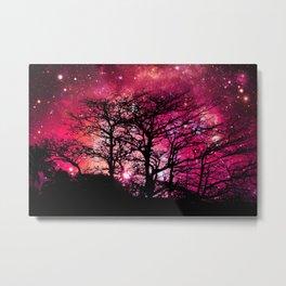 Black Trees Coral Pink Space Metal Print