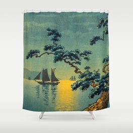 Tsuchiya Koitsu Maiko Seashore Japanese Woodblock Print Night Time Moon Over Ocean Sailboat Shower Curtain