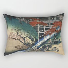 Hiroshige People under maple trees by a stream Rectangular Pillow