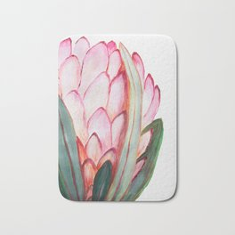 Pink large protea, botanical illustration Bath Mat