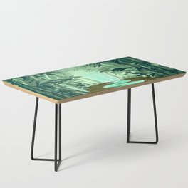 Fluorescent Waterfall on Surreal Bamboo Forest Coffee Table