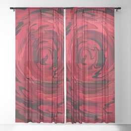 Red Rose Abstract Close up Sheer Curtain