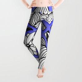 Zentangle Design - Black, White and Purple Illustration Leggings