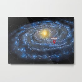 You are here: Milky Way map, Earth Metal Print