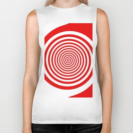 Red and White Spiral Biker Tank