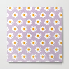 linear daisy pattern spring summer floral Metal Print