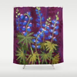 Lupines, wool painting Shower Curtain