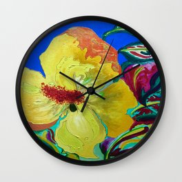 Birthday Acrylic Yellow Orange Hibiscus Flower Painting with Red and Green Leaves Wall Clock