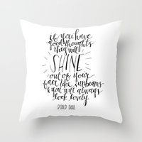roald dahl Throw Pillows featuring They Will Shine | Roald Dahl Print by Voilà Paper Co.