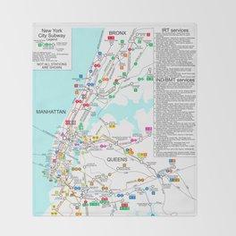 Nyc Subway Map Paper.Subway Map Throw Blankets Society6