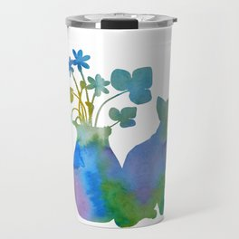 Cat And Flowers Travel Mug