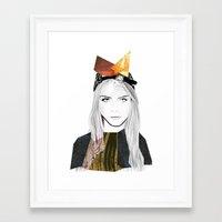 cara delevingne Framed Art Prints featuring CARA DELEVINGNE by Nora Fikse