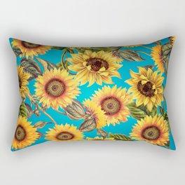 Vintage & Shabby Chic - Sunflowers on Turqoise Rectangular Pillow
