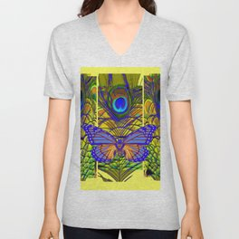 FANTASY PURPLE MONARCH BUTTERFLY PEACOCK FEATHER Unisex V-Neck