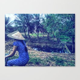 The girl in the blue dress Canvas Print