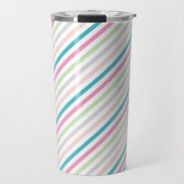 Pink and green stripes Travel Mug