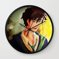 percy jackson Wall Clocks featuring Percy Jackson in Hogwarts by TreyCain03