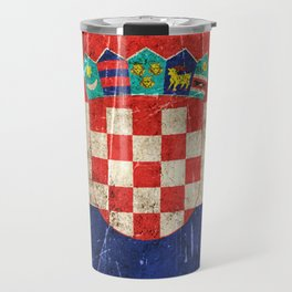 Vintage Aged and Scratched Croatian Flag Travel Mug