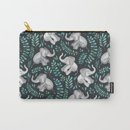 Laughing Baby Elephants – emerald and turquoise Carry-All Pouch