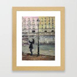 City Landscape selfie Print Original Oil Painting on Canvas Framed Art Print