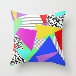 Bits And Pieces - Retro, random, abstract pattern Throw Pillow