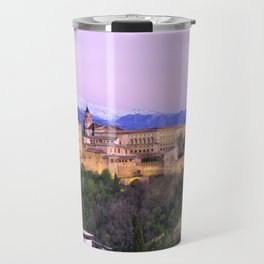 La Alhambra, Sierra Nevada and Granada. At pink sunset Travel Mug
