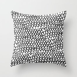 Hand painted monochrome waves pattern Throw Pillow