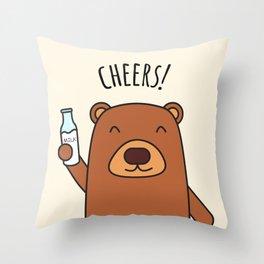 Cheers, Bear! Throw Pillow