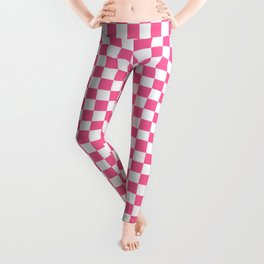 Checkered Pattern Girly Geometric Pink And White  Leggings