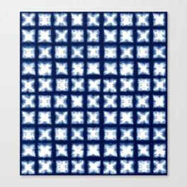 Indigo Shibori Granny Squares Canvas Print