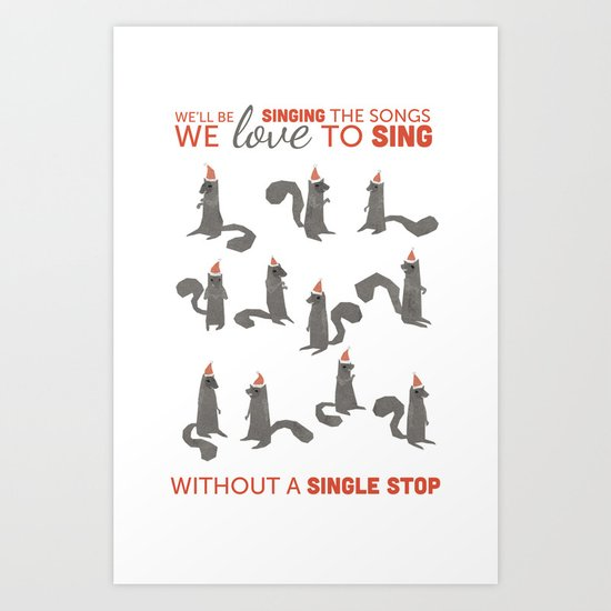 Squirrel Choir Holiday! Art Print