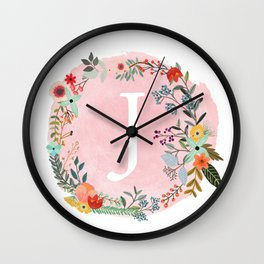 Flower Wreath with Personalized Monogram Initial Letter J on Pink Watercolor Paper Texture Artwork Wall Clock