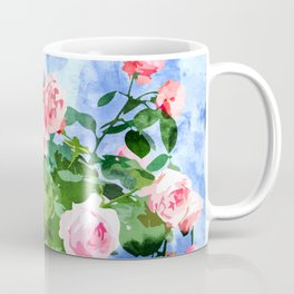 Sweet Rose Garden, Nature Botanical Watercolor Painting, Summer Floral Plants Meadow Coffee Mug