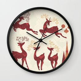 Deer. Winter Holidays! Wall Clock