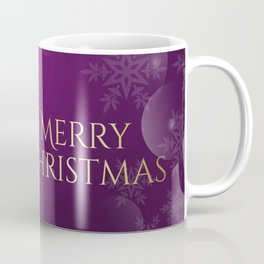 Merry Christmas with Christmas tree and cannabis leaves in purple color Coffee Mug