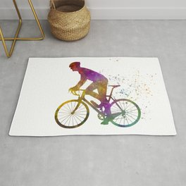 Male cyclist in watercolor 08 Rug