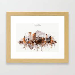 Brown Honolulu skyline design, Hawaii cityscape Framed Art Print