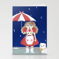 puppycat Stationery Cards featuring Bee and Puppycat in the Rain by Paul Scott (Dracula is Still a Threat)