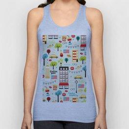 Fun New York City Manhattan travel icons life hipster pattern Unisex Tank Top