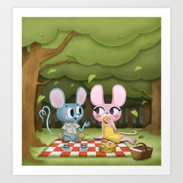 Romantic picnic Art Print