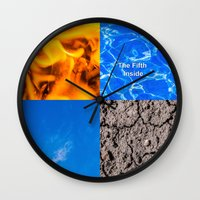 fifth element Wall Clocks featuring The Fifth Is Out There or Inside by digital2real
