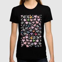 Heart Diamonds are Forever Love Black T-shirt