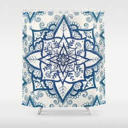 Blue Floral Pattern on Cream Shower Curtain