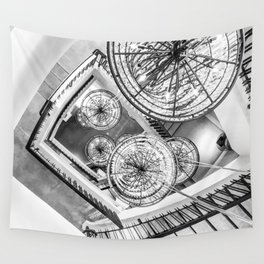 Abstract Perspective // Black and White Lighting Ornamental Chandelier Stairway View Wall Tapestry